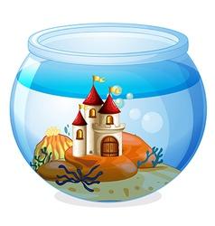 An aquarium with a castle vector image