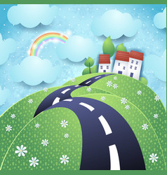 fantasy landscape with hilly road vector image