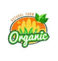 Organic food natural farm with corn logo vector
