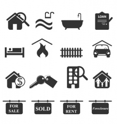 real-estate icons vector image vector image
