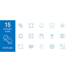 15 fortune icons vector image