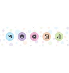 5 disk icons vector