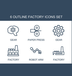 6 factory icons vector