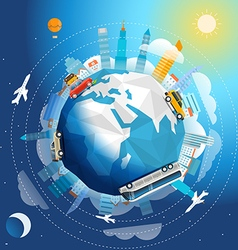 Across the world tour by different vehicle Travel vector