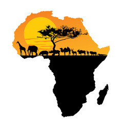 African animals over map africa safari sunset vector