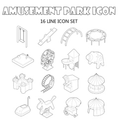 Amusement park icons set outline style vector image
