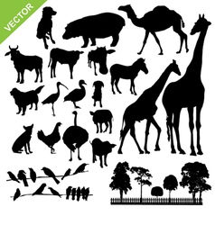 Aniaml and farm silhouette vector image