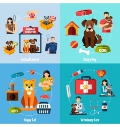 Animal shelter set vector