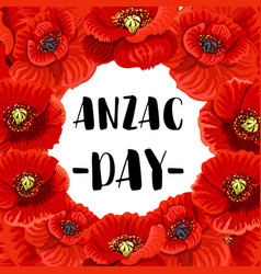 Anzac day war memorial day red poppy poster vector