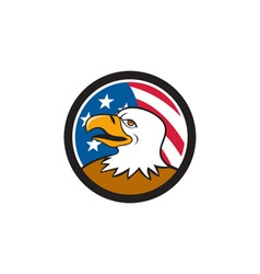 Bald Eagle Head Smiling USA Flag Circle Cartoon vector image