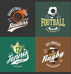 basketball ball and tennis trophy cup rugby vector image vector image