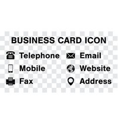 black icon set for business namecard vector image