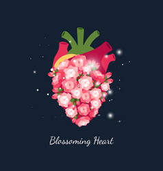 blooming heart wedding concept vector image