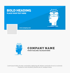 Blue business logo template for data extraction vector