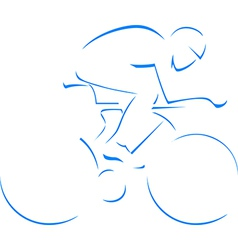 Blue silhouette cyclist vector