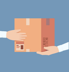 box in hands shipping packages delivery vector image