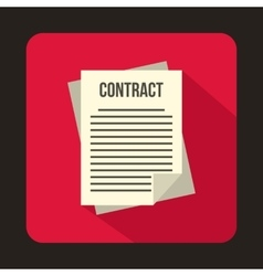 Business contract icon flat style vector