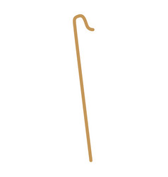 Cane wooden hook tool of shepherd vector