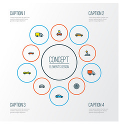 Car icons colored line set with station wagon vector