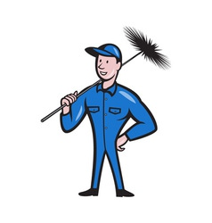Chimney Sweeper Cleaner Worker Retro vector image