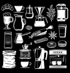 Coffee maker and cafeteria icons vector