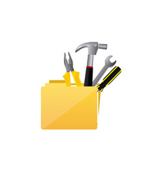 Color silhouette with folder and hand tools vector