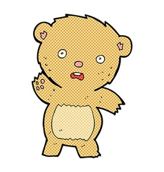 Comic cartoon unhappy teddy bear vector