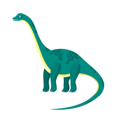 Cute cartoon flat high diplodocus dinosaur vector