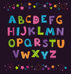 Cute funny childish alphabet on the dark vector