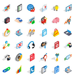 Database cloud icons set isometric style vector