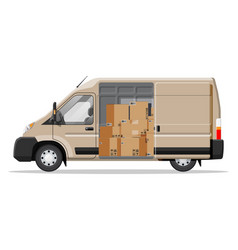 delivery van full cardboard boxes isolated vector image