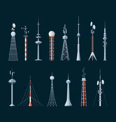 digital and wave communication towers set vector image