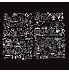 doodle eco icon design vector image