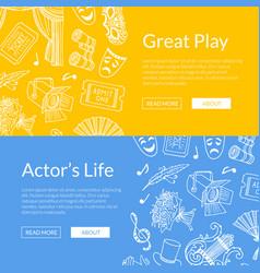 Doodle theatre elements web banners vector