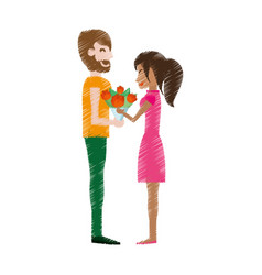 Drawing couple romantic bouquet flowers vector