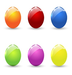 Easter set colorful eggs isolated vector