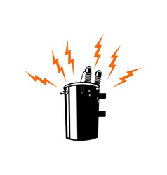 Electricity transformer retro vector