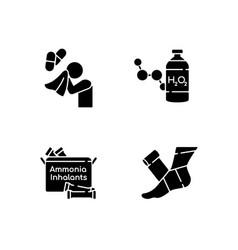 Emergency medication black glyph icons set vector