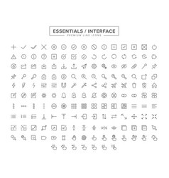 Essentials interface line icon set vector