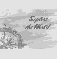 explore the world banner with compass rose vector image