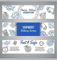 Express delivery and shipment horizntal banners vector