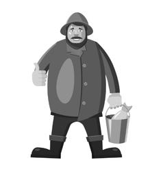 Fisherman icon gray monochrome style vector image