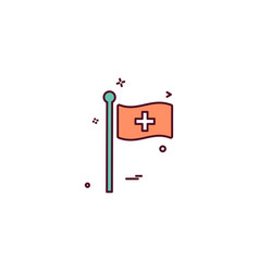 flag pole hospital icon design vector image