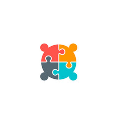 Four creative people connectivity logo vector