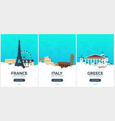 france italy greece time to travel set of vector image