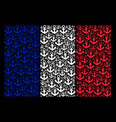 French flag collage of anchor icons vector