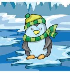 funny penguin on ice background vector image