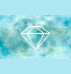Galaxy background with diamond in neon vector