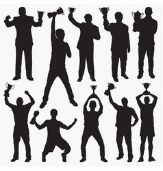 holding trophy silhouettes vector image