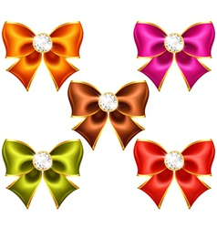 Holiday bows with diamonds vector image